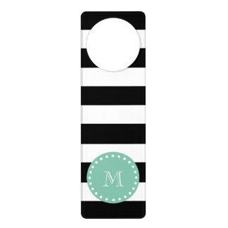 Black Stripes Pattern, Mint Green Monogram Door Hangers
