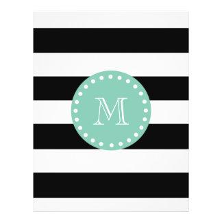 Black Stripes Pattern Mint Green Monogram Flyer