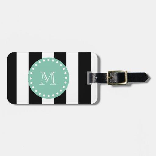 Black Stripes Pattern, Mint Green Monogram Tag For Bags