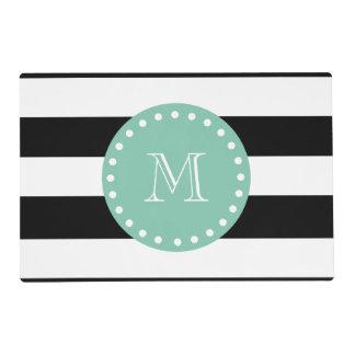 Black Stripes Pattern, Mint Green Monogram Laminated Placemat