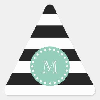 Black Stripes Pattern, Mint Green Monogram Triangle Sticker