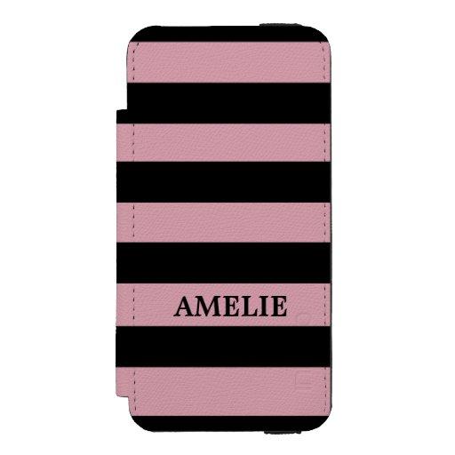 Black Stripes Pattern {pick your background color} iPhone SE/5/5s Wallet Case