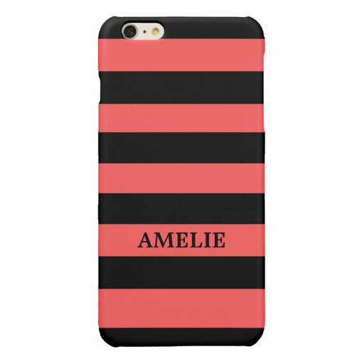 Black Stripes Pattern {pick your background color} Glossy iPhone 6 Plus Case