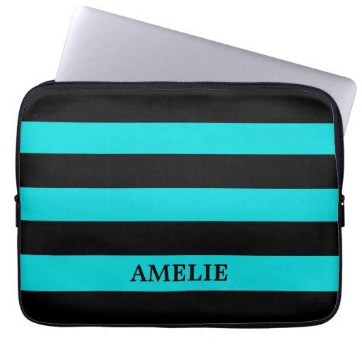 Black Stripes Pattern {pick your background color} Laptop Sleeve