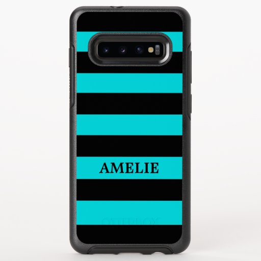 Black Stripes Pattern {pick your background color} OtterBox Symmetry Samsung Galaxy S10  Case