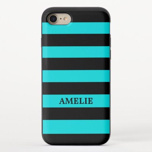 Black Stripes Pattern {pick your background color} iPhone 8/7 Slider Case