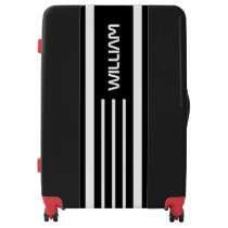 Black Stripes Pattern White Background Monogram Luggage