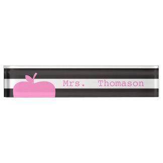 Black Stripes Pink Apple Teacher Nameplate