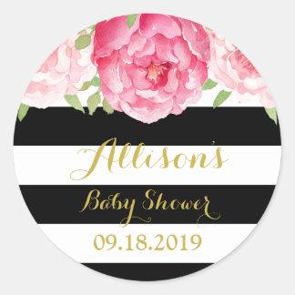Black Stripes Pink Floral Baby Shower Favor Tag