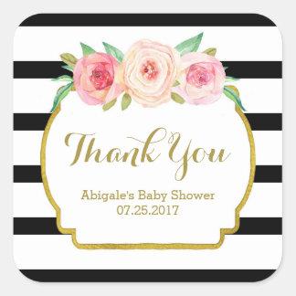 Black Stripes Pink Floral Baby Shower Favor Tags Square Sticker