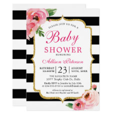 Black Stripes Pink Floral Baby Shower Invitation Template