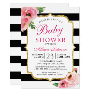 Pink and black baby shower invitations zazzle black stripes pink floral baby shower invitation filmwisefo