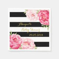 Black Stripes Pink Floral Baby Shower Napkins