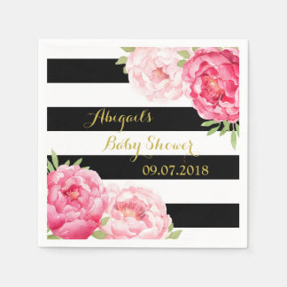 Black Stripes Pink Floral Baby Shower Napkins