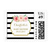 Black Stripes Pink Floral Baby Shower Stamps