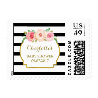 Black Stripes Pink Floral Baby Shower Stamps