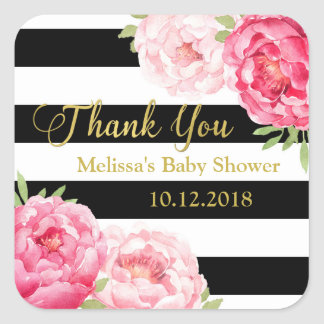 Black Stripes Pink Floral Baby Shower Thank You Square Sticker