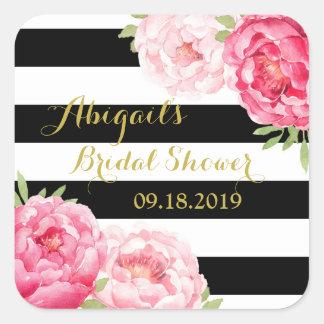 Black Stripes Pink Floral Bridal Shower Favor Tag