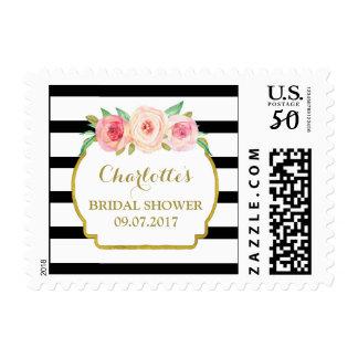 Black Stripes Pink Floral Bridal Shower Stamps