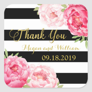 Black Stripes Pink Floral Wedding Favor Tags