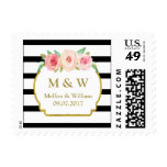 Black Stripes Pink Floral Wedding Monogram Stamps
