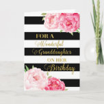 """Black Stripes Pink Flowers Granddaughter Birthday Card<br><div class=""""desc"""">Birthday card for granddaughter with pink watercolor flowers,  black stripes,  gold text and thoughtful verse.</div>"""