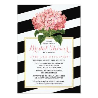 Black Stripes & Pink Hydrangea Bridal Shower 5x7 Paper Invitation Card