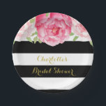 "Black Stripes Pink Watercolor Bridal Shower Plate<br><div class=""desc"">Customizable name bridal shower party plates in black and white stripes pattern with vintage pink watercolor flowers.</div>"