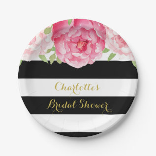 Black Stripes Pink Watercolor Bridal Shower Plate at Zazzle