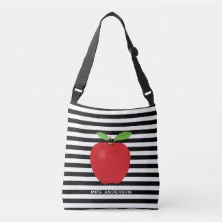 Black Stripes, Red Apple Personalizaed Teacher Crossbody Bag
