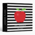 Black Stripes, Red Apple Personalized Teacher 3 Ring Binder