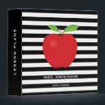 """Black Stripes, Red Apple Personalized Teacher 3 Ring Binder<br><div class=""""desc"""">This teacher binder features a trendy black and white horizontal stripe pattern with a digital illustration of a red apple.</div>"""