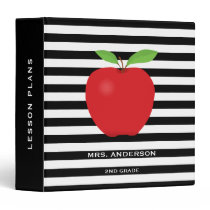 Black Stripes, Red Apple Personalized Teacher 3 Ring Binder