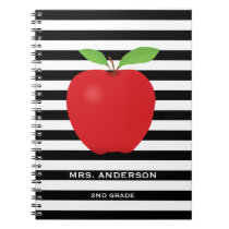 Black Stripes, Red Apple Personalized Teacher Notebook