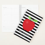 "Black Stripes, Red Apple Personalized Teacher Planner<br><div class=""desc"">This planner features a design for a teacher. The background is a trendy black and white horizontal stripe pattern with a digital illustration of a red apple. Custom text allows you to add the teacher"