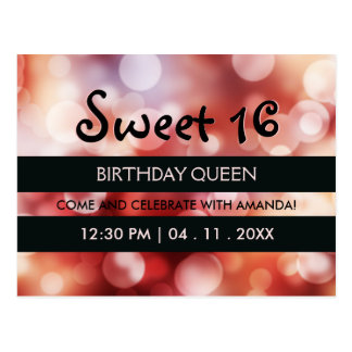 Black Stripes Red Glitter Sweet 16 Birthday Party Postcard