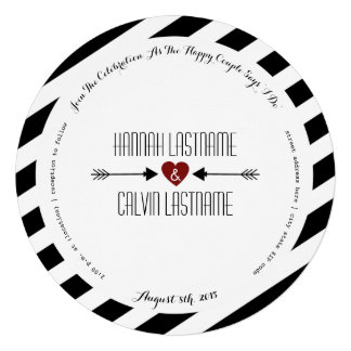 Black Stripes Red Heart + Arrows Round Wedding Personalized Announcement