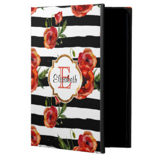 Black Stripes, Red Poppy, Faux Gold, Personalized Powis iPad Air 2 Case