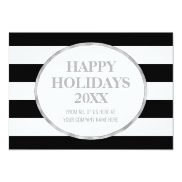Professional Business Black Stripes Silver Business Christmas Photo Card