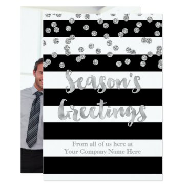 Professional Business Black Stripes Silver Confetti Christmas Business Card