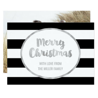 Black Stripes Silver Merry Christmas Photo Cards