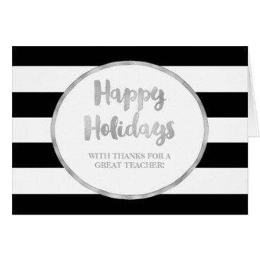 Professional Business Black Stripes Silver Teacher Christmas Card