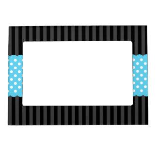 Black Stripes Teal Blue Polka Dots Magnetic Picture Frame