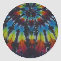 Black Stripes Tie Dye Pattern Classic Round Sticker