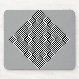 Black Stripes & Tiles Mouse Pad