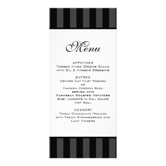 Black Stripes Wedding Menu
