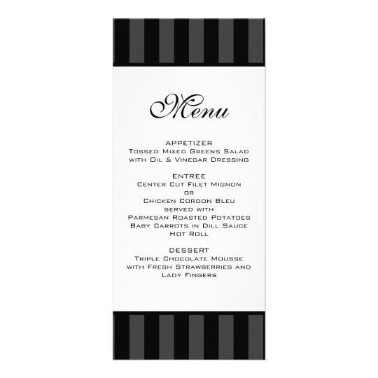 Black Stripes Wedding Menu