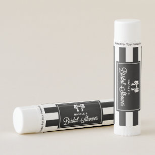 black stripes with bow personalized bridal shower lip balm