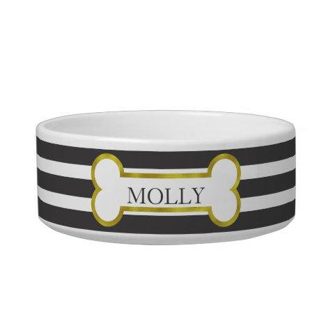Black Stripes with Gold Bone Personalized Pet Bowl