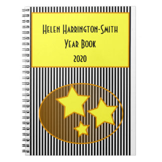 Black Stripes yellow star 3 row text notebook